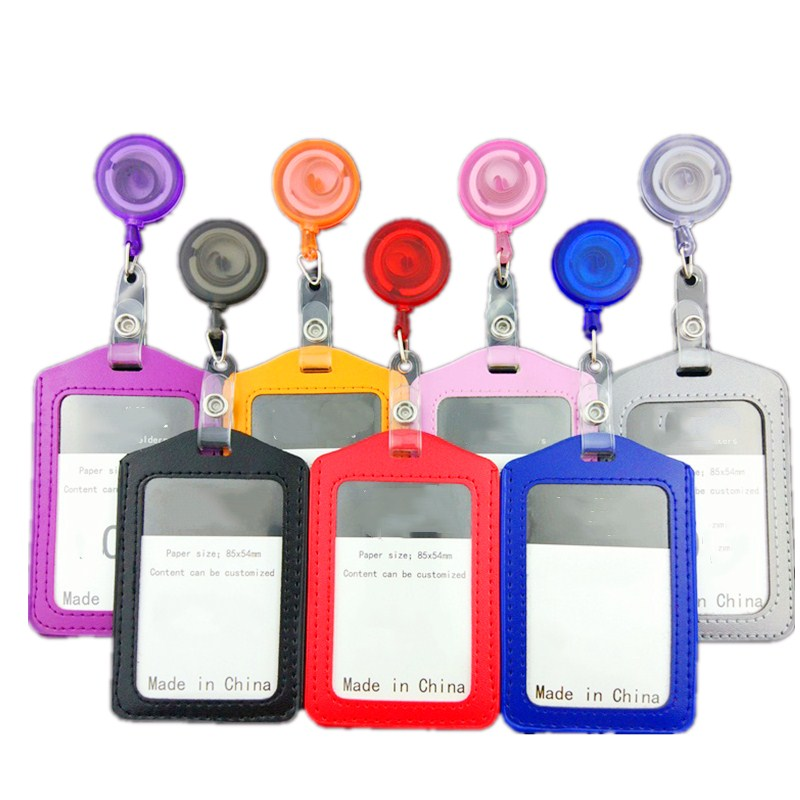 1pcs PU Leather ID Card Holder With Badge Reels Retractable Name Tag Office Supplies