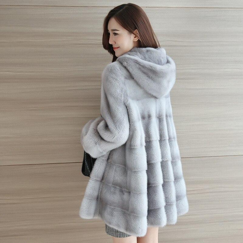 Mink Fur Jacket Female 2020 Winter New Style Haining Mid-length Hooded Mink Mink Coat Women's Jacket