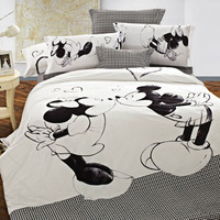 Disney Mickey Mouse Bedding set Mickey and Minnie Duvet Cover Pillowcases Twin Full Queen King Size Kids bedlinen home Textiles