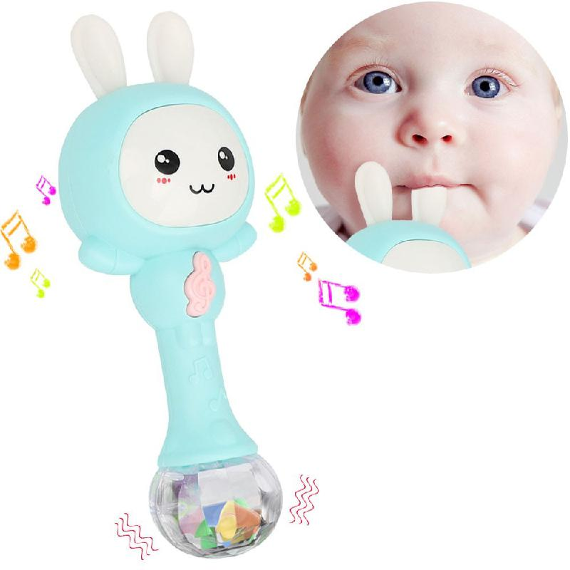 Baby Musical Rattle And Teethers, Sing Rabbit Baby Toy With 6 Classic Songs And Light For Toddlers Infant 0-3 Years Old Toy