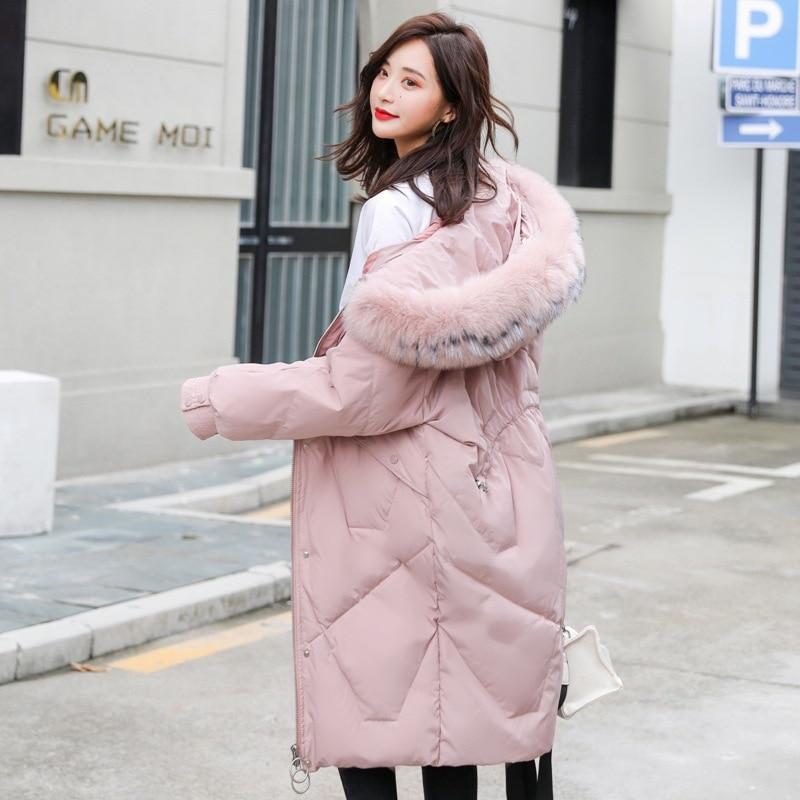 Oversize Women Big Fur Hood White Duck Down Jackets Women Thick Extra Long  Down Overcoat Female Puffer Jacket Plus Size JK-824