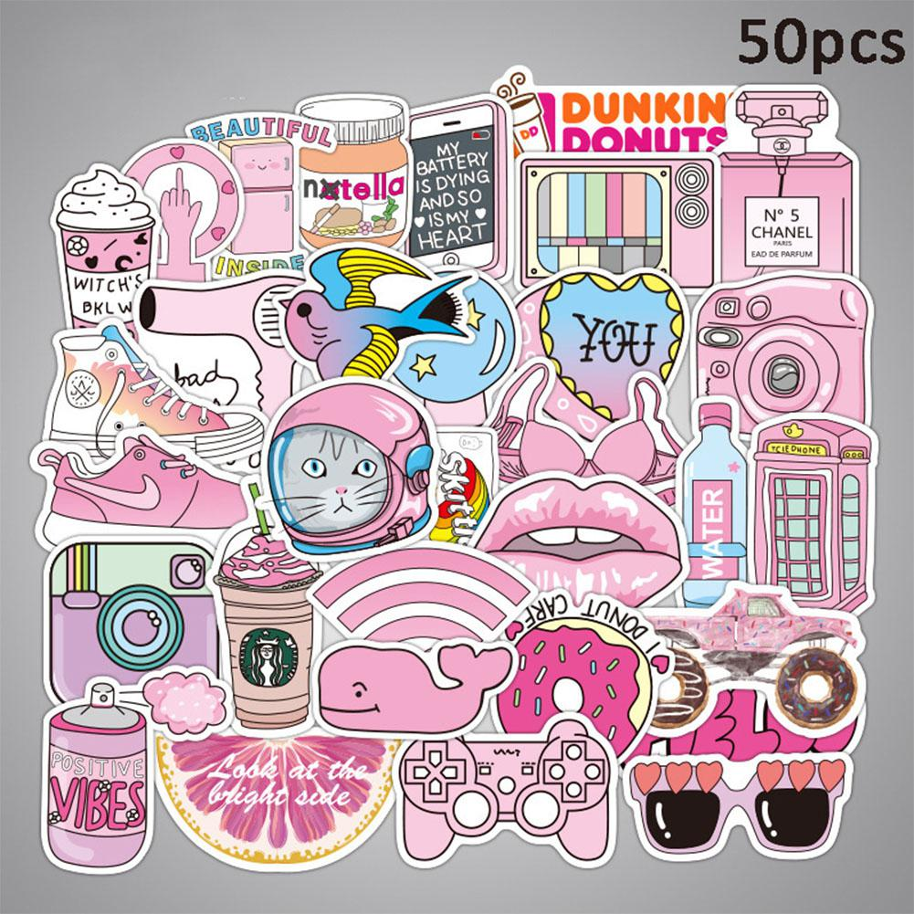 Kuulee 50pcs Cute Anime Pink Girl Series Stickers Waterproof Stickers For Car Backpack Home Decoration