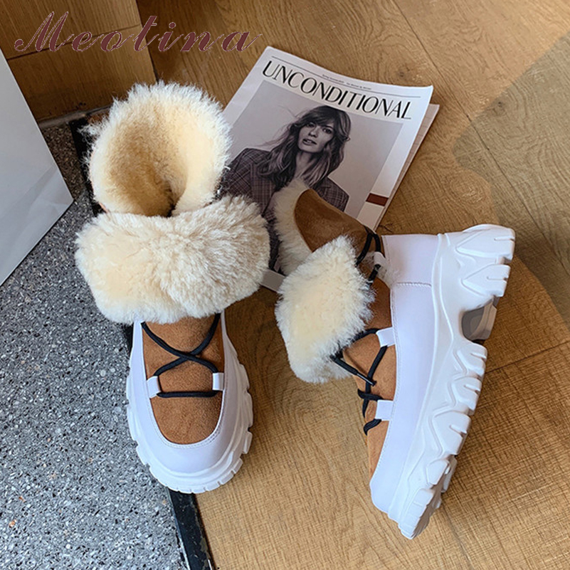 Meotina Genuine Leather Platform High Heel Short Boots Women Fur Snow Boots Shoes Lace Up Thick Heels Ankle Boots Winter Black