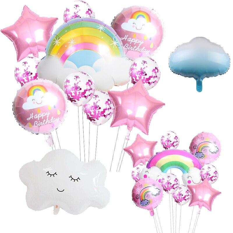 Милые Мультяшные солнце Радуга улыбка облако фольгированные воздушные шары летвечерние НКА День Рождения Вечеринка украшения Детские Дет...