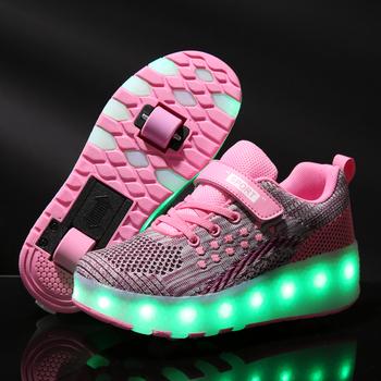 Wyprzedaż USB dziecięce buty dla chłopców z dwoma kółkami dziecięce buty świecące tenisówki Led zapalają dziecięce buty dla chłopca świecące buty tanie i dobre opinie Warm like home RUBBER Pasuje prawda na wymiar weź swój normalny rozmiar 0-1 M 10 m 12 m 16 M 17 M 18 m 19 M 21 m 22 M