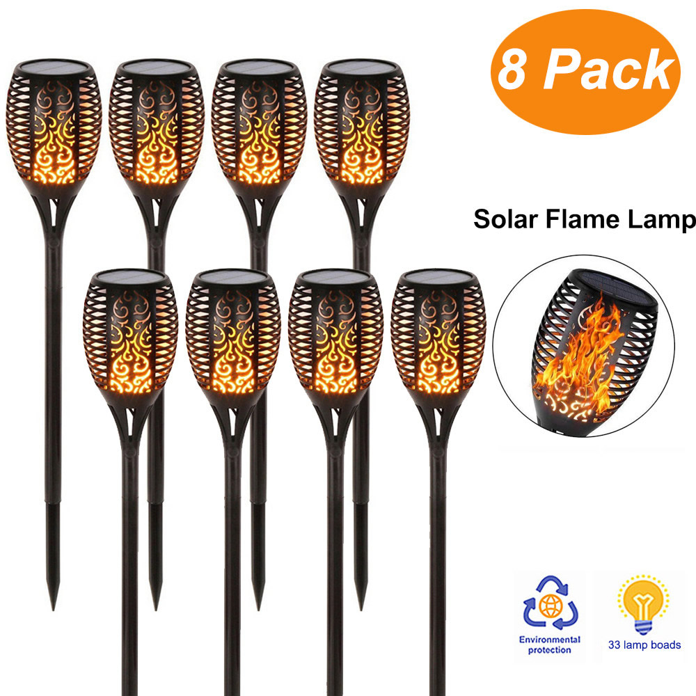 Solar 33 LEDs Lawn Dancing Flame Torch Lights Led Flicker Lamp For Landscape Camps Decor Flickering Bulb Dancing Party Lighting