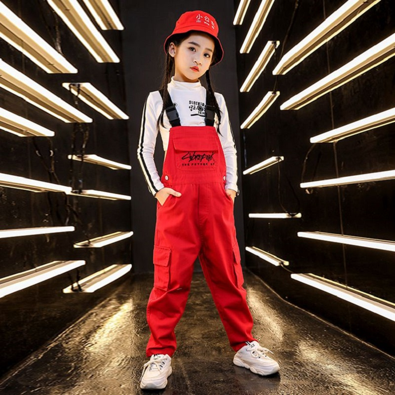 Red Dance Costumes Girls Hiphop Street Dance Rave Outfit Kids Jazz Performance Clothing Children Dancing Practice Wear DF1735