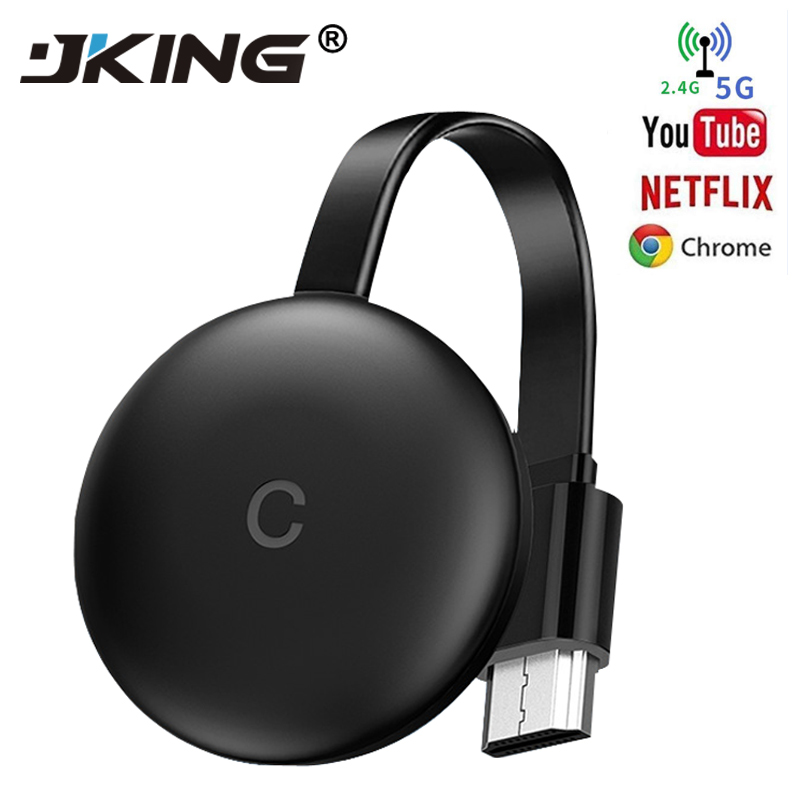 JKING HDMI Wireless Display Receiver 5G WiFi 4K 1080P Mobile Screen Cast Mirroring Adapter Dongle Chromecast Google Pusher