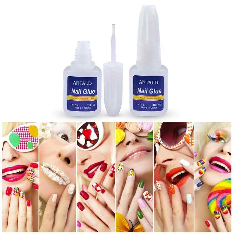 Pegamento para uñas de secado rápido 10g con cepillo para uñas falsas brillantina diamantes de imitación decoración 3D herramientas de manicura de maquillaje herramientas cosméticas stslm1
