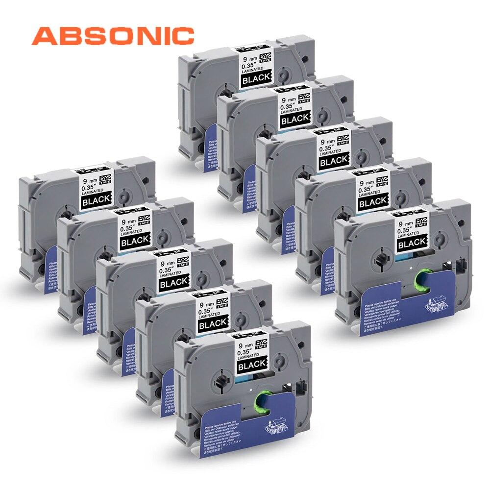 Absonic 10PCS TZe 325 TZ 325 White on Black Label Tape for Brother P Touch CUBE PT D210 PT H110 PT D400 PT D600 PT P700 Printer|Printer Ribbons| |  - title=