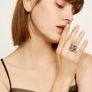 Image 2 - Szjinao 925 Sterling Zilveren Ring Amber Vierkante Voor Vrouwen Bridal Wedding Edelsteen Ringen Enagement Party Fijne Sieraden Hoge Kwaliteit