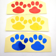 цена на 2 pair of animal footprints reflective stickers red blue yellow for car and motorcycle electric car tuk-tuk refrigerator