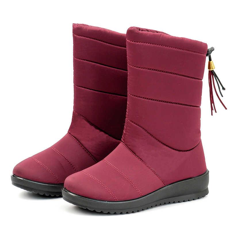 Giày Bốt Nữ 2019 Thời Trang Mùa Đông Giày Bốt Nữ Đế Xuồng Gót Giữa Bắp Chân Botas Mujer Chống Nước Ủng Cao Ấm Áp Mùa Đông giày Nữ