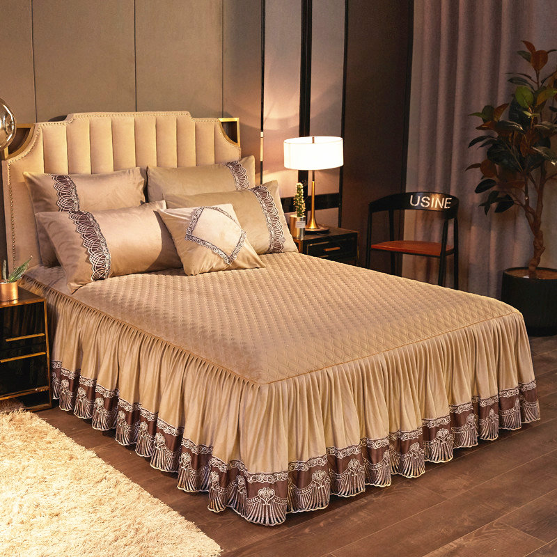 Luxury Crystal Fleece Embroidery Lace Twin Bed Skirt Queen King Size Bedspread Single Double Bed Cover Pillow Case Soft Warm