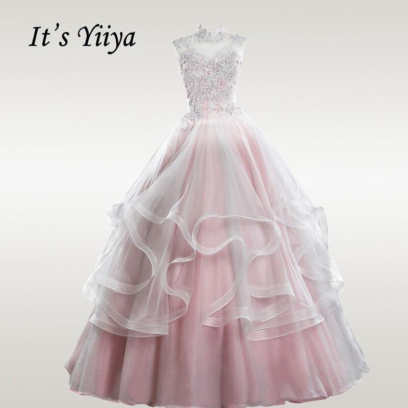 It's YiiYa Wedding Dresses 2020 Elegant Pink Wedding Princess Dress Plus Size Lace Robe De Mariee Long Bridal Gowns CH148