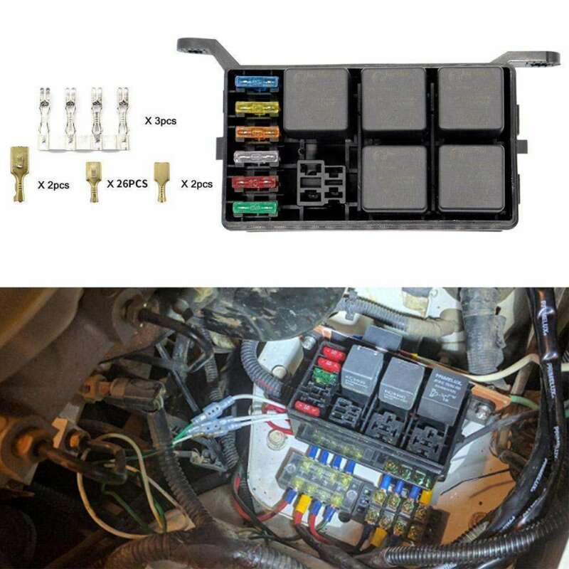 Universal 12V Car Marine 6-Way Relay+ 6-Slot Blade Fuse Holder Box Block