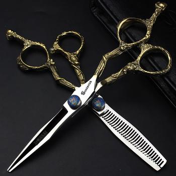 Nowy 6 cal 440c nożyczki profesjonalne nożyczki do cięcia włosów nożyczki fryzjerskie fryzjer degażówki uchwyt w kształcie smoka nożyczki do włosów tanie i dobre opinie STAINLESS STEEL CN (pochodzenie)
