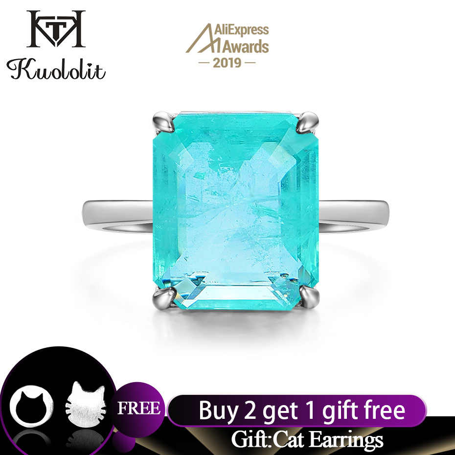 Kuololit Paraiba Gemstone Rings for Women Real 925 Sterling Silver Emerald Cutting Tourmaline Handmade Engagement Bride Jewelry