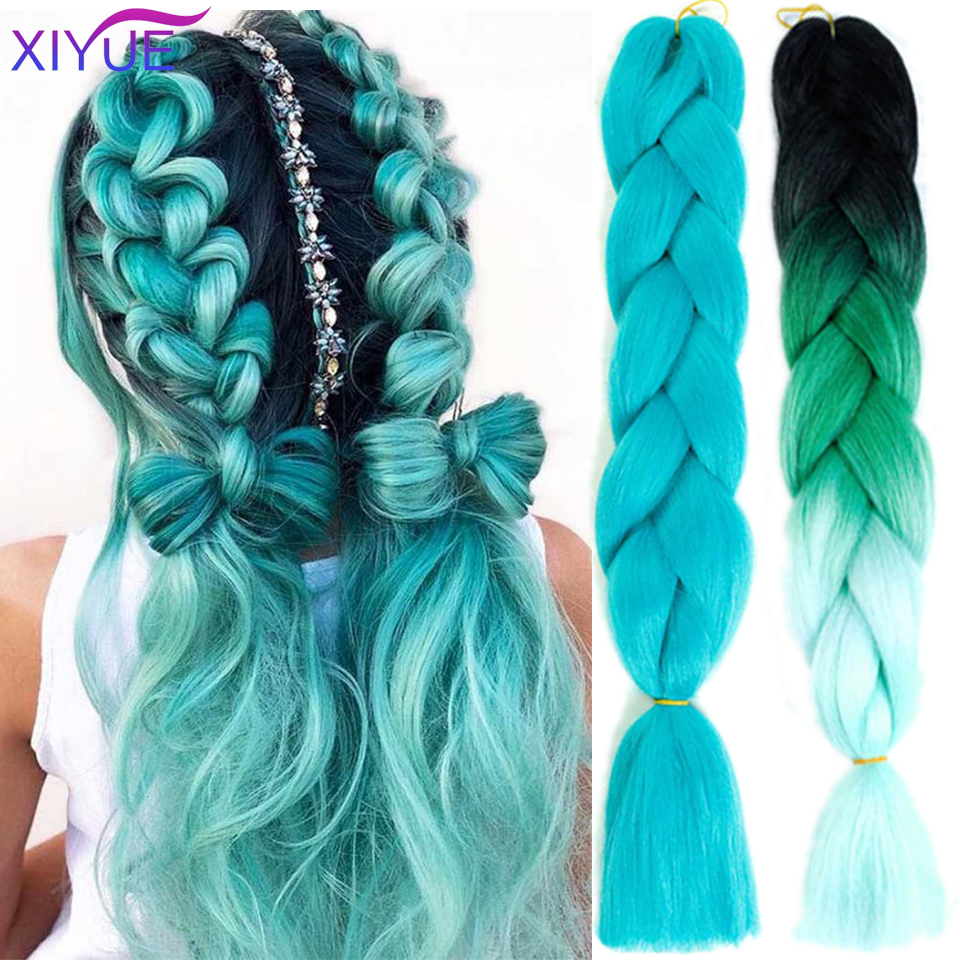 Colorful 24 Inches Jumbo Braids Long Ombre Synthetic Braiding Kanekalon Hair Extensions Crochet Blonde African White Black Women