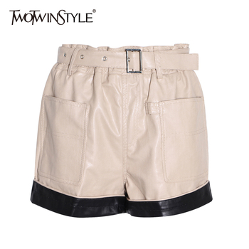 TWOTWINSTYLE PU Leather Korean Women's Shorts High Waist Pocket With Sashes Female Short Pants 2019 Summer Big Size Fashion New