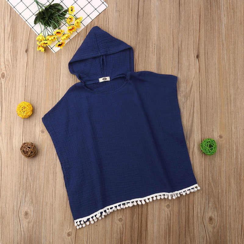 Focusnorm moda maluch dzieci dziecko dziewczyna Boho długi sweter sukienka Cape okrycie plażowe z kapturem bluzka