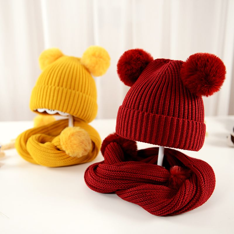 Children Scarf Hat Set Knitted Solid Color With 2 Balls Kids Autumn Winter Shawl