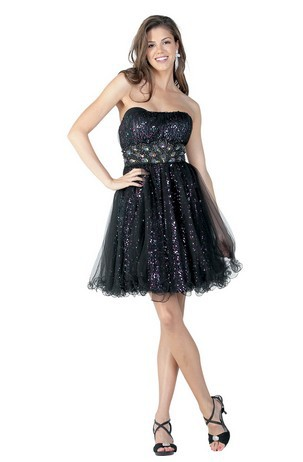 Free Shipping 2016 Dinner Dress New Style Formal Gown Prom Plus Size Ball Gowns Short Black Strapless Beaded Cocktail Dresses