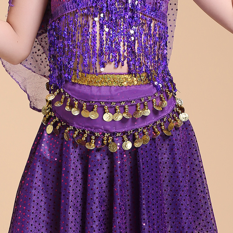 Child Waist Chain Hip Scarf Kids Belly Dance Indian Dance Belt 6 Colors Waist Chain Belt Kids Dance Practice Hip Waist  Seal