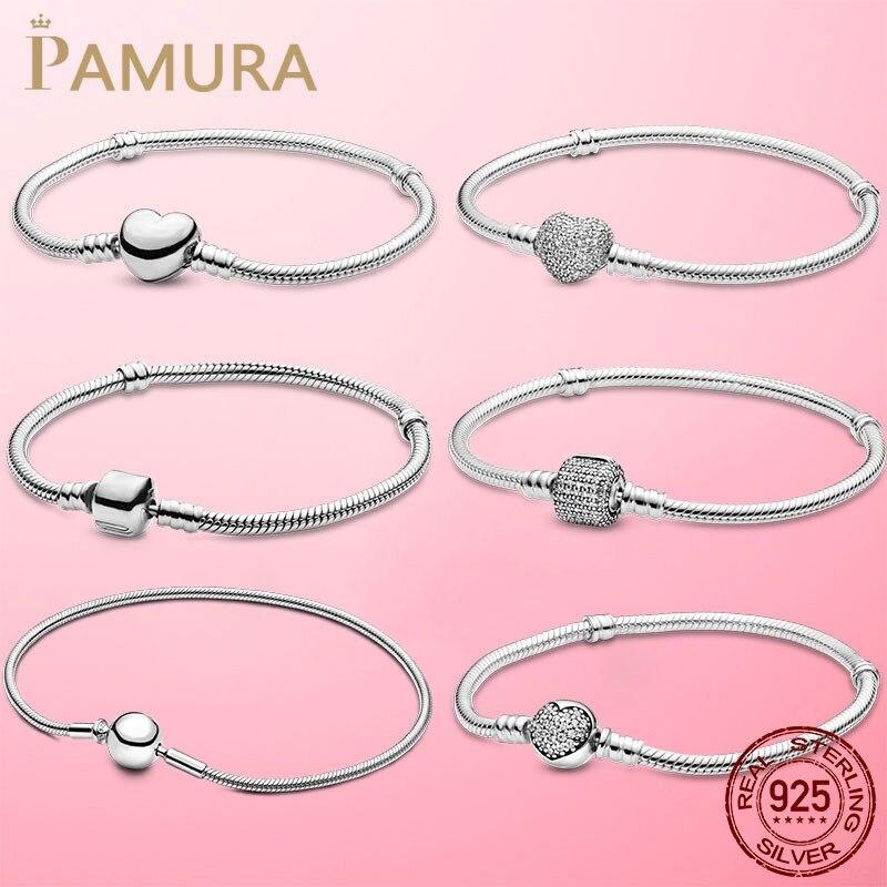 TOP vendita 6 stili bracciale a catena con serpente a cuore in argento Sterling 925 per donna misura regalo originale di gioielli con perline di fascino Pamura
