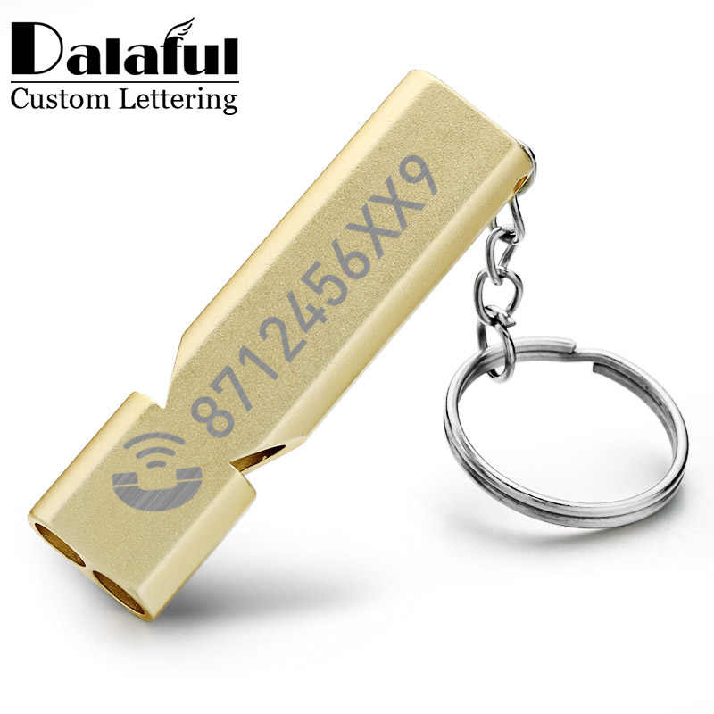 ที่กำหนดเอง Whistle Keychain Double PIPE สูงเดซิเบลฉุกเฉินกลางแจ้ง Survival โลโก้แกะสลักชื่อ Anti-Lost EDC Keyrings K383