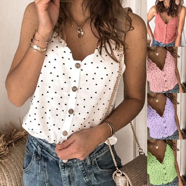 2021 mujeres Sexy Polka Dot blusa elegante camisa cuello en V botón sin mangas, Tops de verano, 2XL de las señoras de la moda ropa de calle Chic Top blusa 1