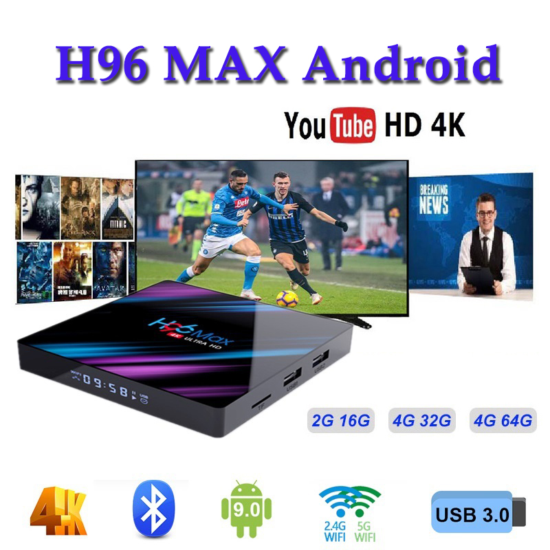 Box android samart console h96 max 3318 2 4G 5G Wifi Bluetooth 4 0 h96 max pro media player support iptv ltaly subscription m3u in Set top Boxes from Consumer Electronics