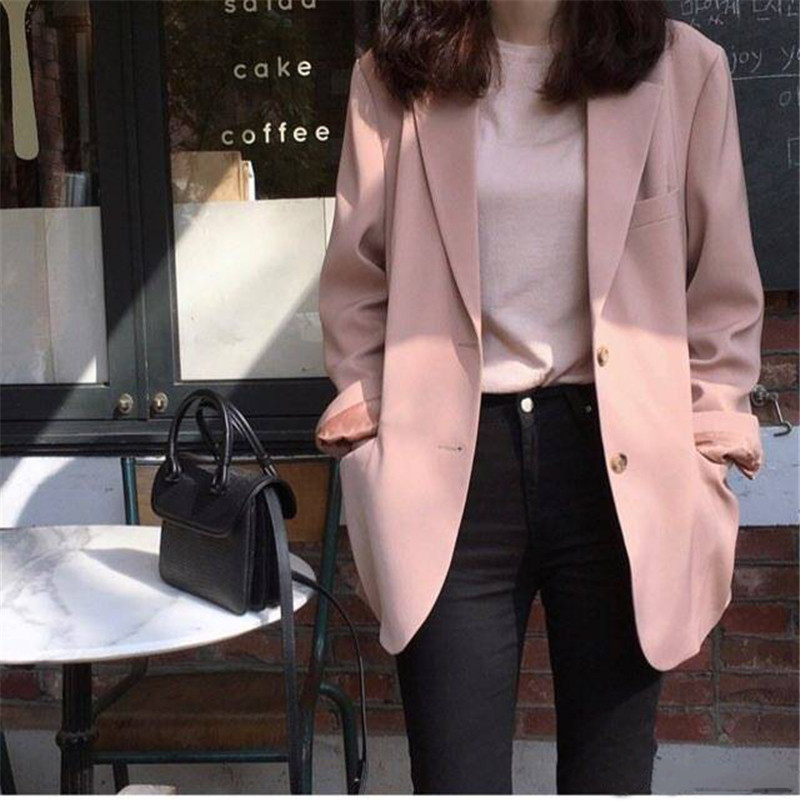 Korean Female Pink Blazer 2020 Spring New 90s Slim Casual Blazer And Jackets Single Breasted Office Lady Notched Outwear Clothes