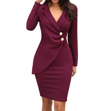Spring Dress Women Office Lady Sexy Solid Turn Down Neck Lon