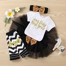 Для маленьких девочек один год милое платье 1 Во-первых, праздничный наряд для дня рождения для девочек, набор чулок, набор одежда для малыше...