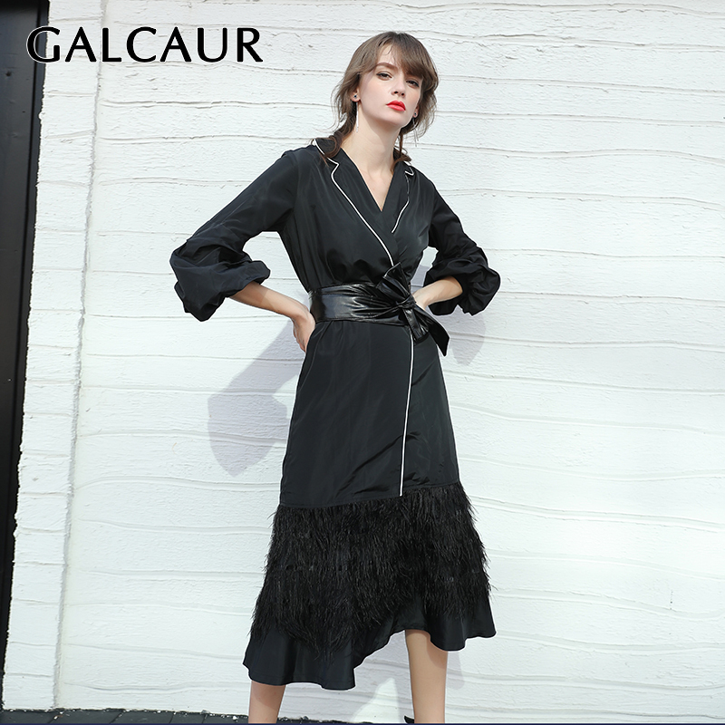 GALCAUR Pacthwork Tassel Women Coat Lapel Collar Puff Sleeve High Waist Lace Up Hit Color Female Jacket Fashion Clothes 2020 New