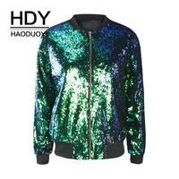 HDY Haoduoyi Six Colors Women Fashion Mermaid Sequins Bomber Jackets Shine Zipper O Neck Female Popular Autumn Outwears