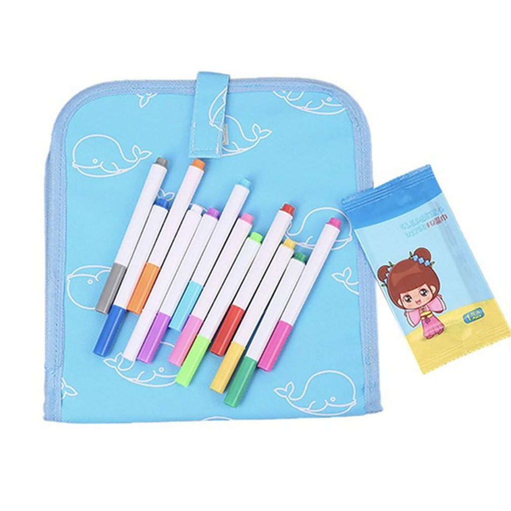 Children'S Portable Repeated Writing Erasable Graffiti Painting Double-Sided Small Blackboard Watercolor Pen Drawing Board