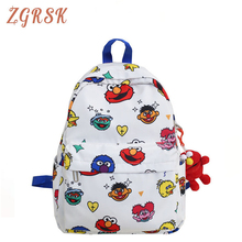 все цены на Fashion Canvas Backpack For Women Cartoon Pendant Backpacks Female School Bags For Teenage Girls School Back Pack Bookbags онлайн