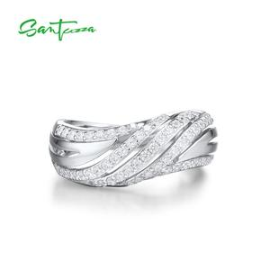 Image 2 - SANTUZZA Silver Rings for Women Engagement Wedding Ring White Cubic Zirconia Stone Pure 925 Sterling Silver Chic Fashion Jewelry