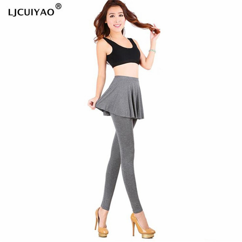 LJCUIYAO Women's Leggings Solid Skirt With Pants Casual Skinny Autumn Legging Female Pencil Pant Legging With Ruffle Skirt Pants