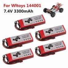 Оригинальный литий-полимерный аккумулятор для Wltoys 144001, автомобиль 2s 7,4 В 3300 мАч, T-образный разъем для Wltoys 1/14 144001, Радиоуправляемый автомобил...