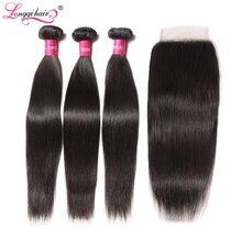 Прямые волосы Longqi, пряди волос с застежкой, 4 шт./лот, перуанские пучки волос с застежкой, Remy, человеческие волосы с пучками