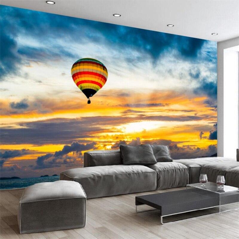 Beibehang-Hand-painted-cartoon-hot-air-balloon-sunset-children-s-room-background-wall-custom-large-mural