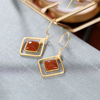 South Red Agate gold-plated personality geometric high-grade temperament women's earrings earrings earrings earrings