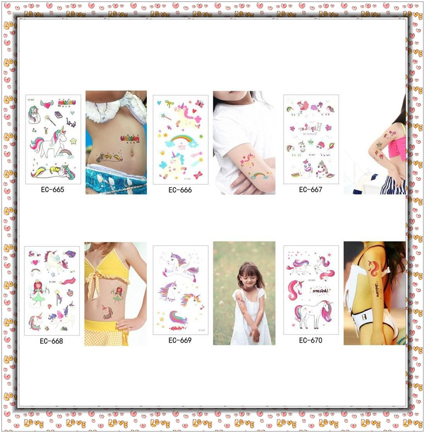 5Pcs Disposable Tattoo Sticker Unicorn Party Decoration Baby Kids Unicorn Birthday Party Favors Temporary Tattoos Supplies 4