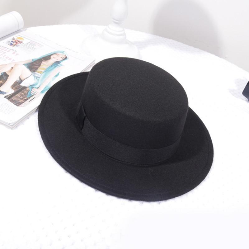 Spring Autumn Woolen Women Hat Classic Solid Color Felt Fedoras Hats Female Lady Wide Brim Flat Top Jazz Cap 6