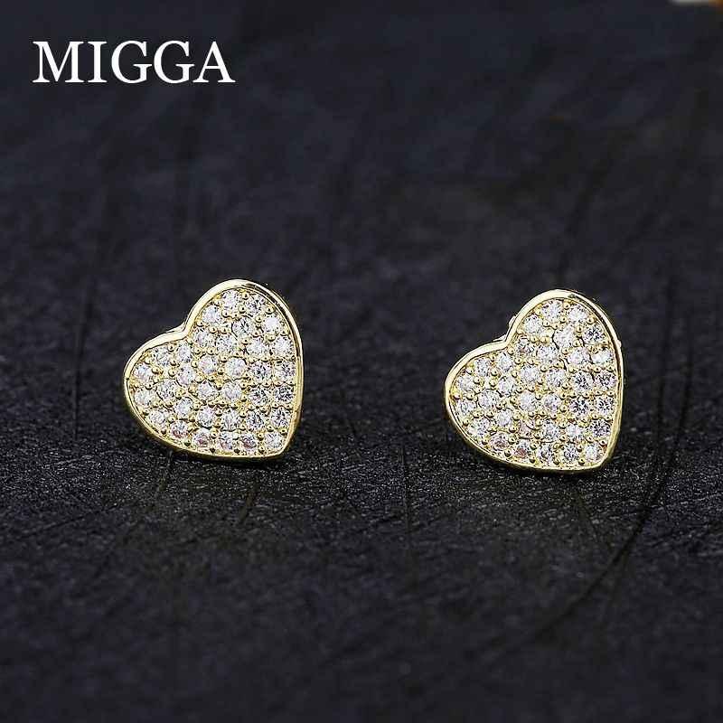 MIGGA Micro pavé cubique Zircon coeur boucles d'oreilles couleur or femmes filles cadeau zircone bijoux