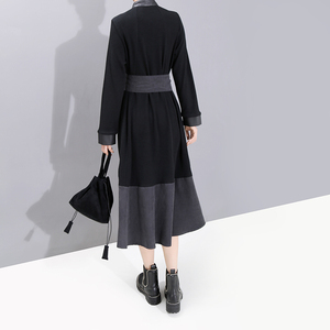 Image 5 - New 2019 European Fashion Full Sleeve Women Winter Black Shirt Dress With Sashes Patchwork Ladies Stylish Party Dress Robe 5743