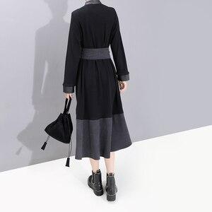 Image 5 - Nuevo 2019 moda europea manga completa mujer invierno negro camisa vestido con Sashes Patchwork señoras elegante vestido de fiesta bata 5743